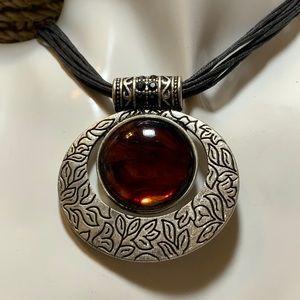 Lia Sophia Amber Leather Necklace